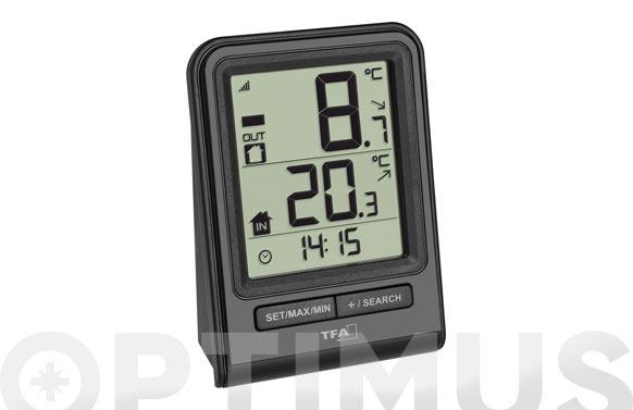 Termometro digital con sensor exterior negro