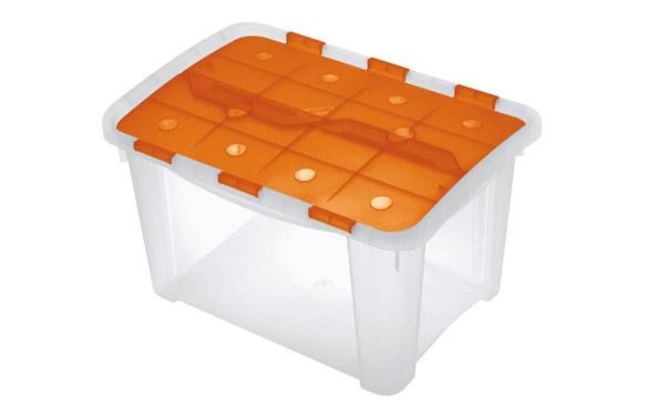 Caja multiusos home box naranja / transparente 25 litros