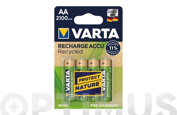 Pila recargable recycled aa 2100 mah 4 unidades