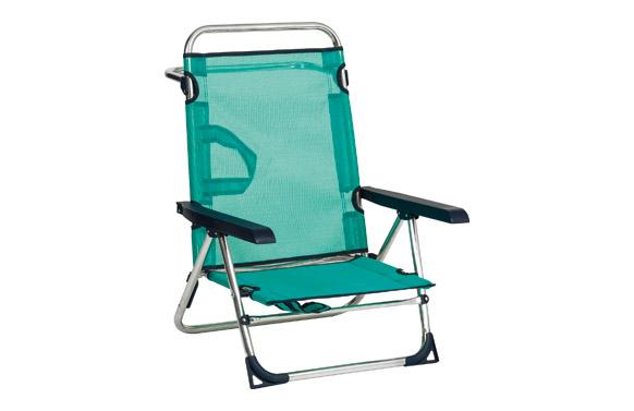 Silla posiciones aluminio playa basic fibreline azul