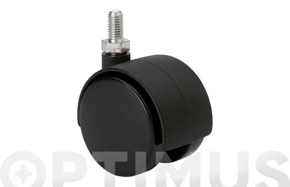 Rueda mueble auxiliar giratoria dk polipropileno d espiga roscada m 6x15 20 kg