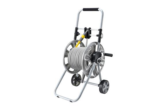 Carro portamanguera metálico guia de rebobinado con 20 mt manguera y accesorios