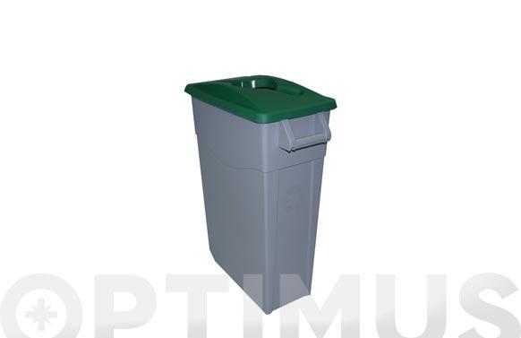 Contenedor basura gris zeus 65l tapa abierta verde