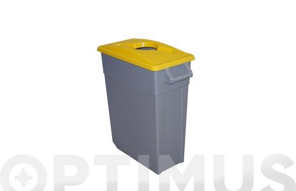 Contenedor basura gris zeus 65l tapa abierta amarillo