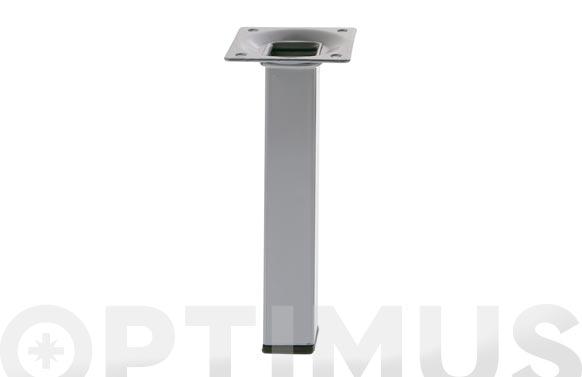 Pata para mesa cuadrada modelo 3 acero plata 25 x 25 x 200 mm