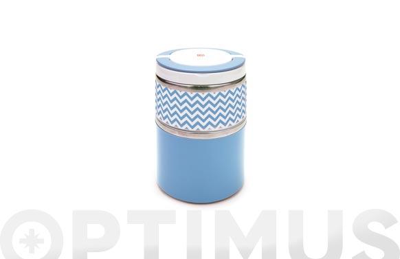 Termo solidos lunchbox doble 0,9 l azul inox