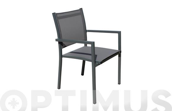 Sillon aluminio textilene dark gris/marron