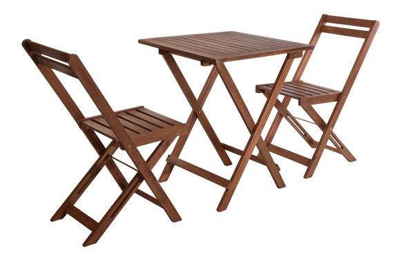 Mesa madera +2 sillas plegables acacia 60 x 60 cm