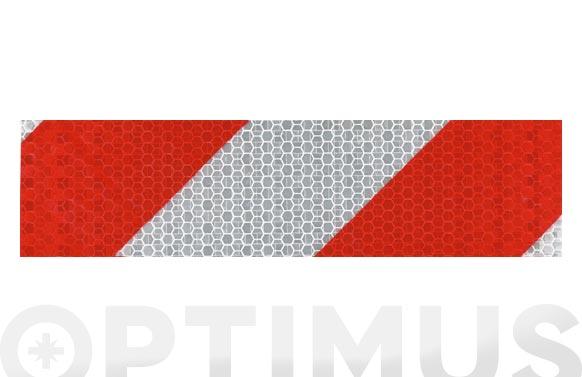 Cinta adhesiva señalizacion reflectante 33 m x 50 mm blanca/roja