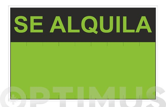 Cartel pvc fluorescente se alquila 350 x 450 mm