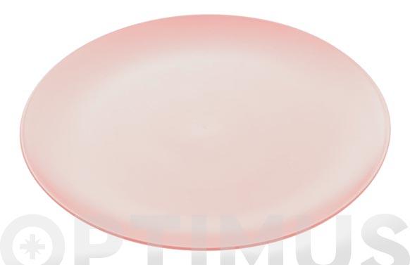 Plato rondo rosa llano