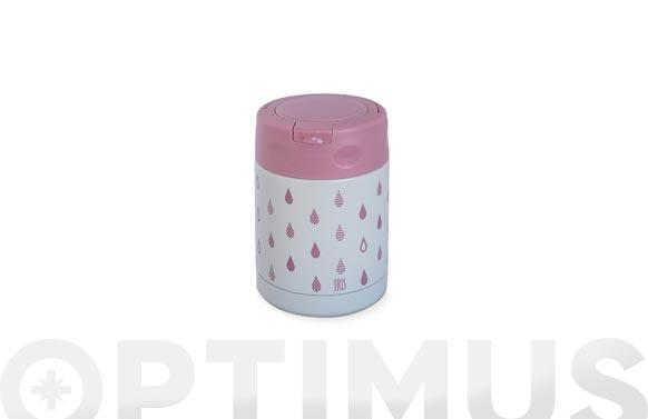 Termo niños +bolsa 350 ml-gotas rosa