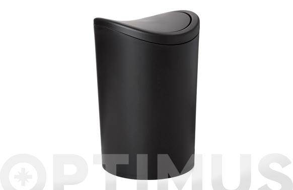 Cubo baño basculante negro 6 l