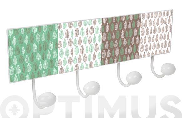 Percha pared 4 pomos metal/porcelana hojas verde marron
