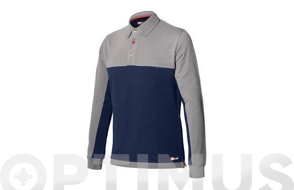 Polo stretch bicolor azul-gris manga larga t. xl
