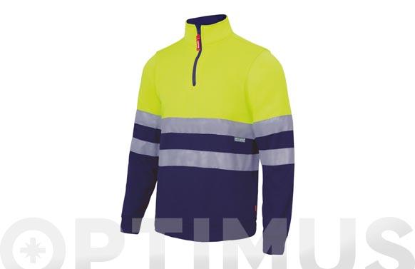 Sudadera alta visibilidad con cremallera bicolor t xxx l amarillo fluor / azul marino