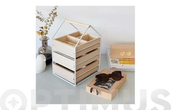 Organizador joyas madera/metal blanco