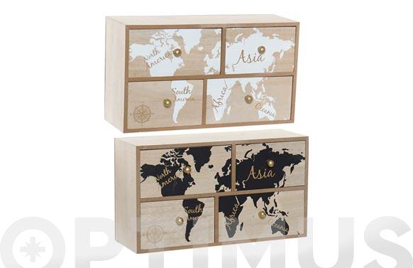 Mini armario madera 30 x 17 x 11 cm mapa mundi surtido