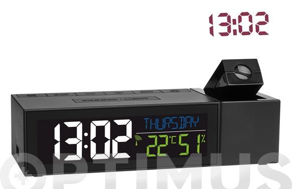 Reloj proyector con termometro negro