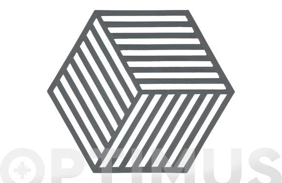 Salvamanteles silicona hexagonal 16 x 14 gris
