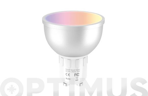 Bombilla led rgb compatible asistente voz 5w gu10 smart home