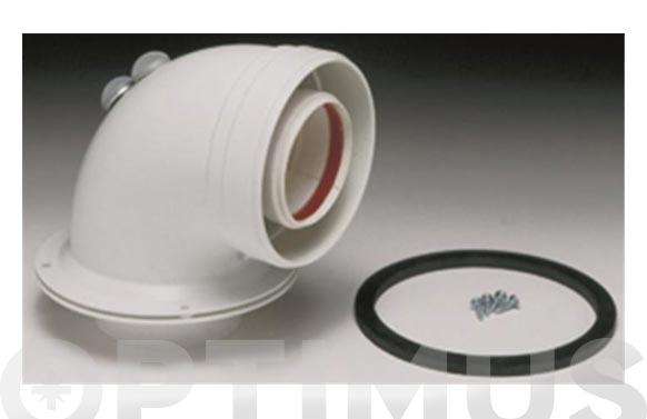 Adaptador caldera coaxial horizontal aluminio ø 16/100 blanco