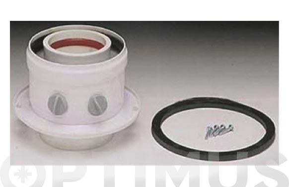 Adaptador caldera coaxial vertical aluminio ø 16/100 blanco