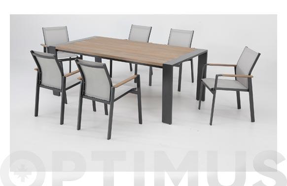 Mesa aluminio madera libano antracita 200 x 100 cm