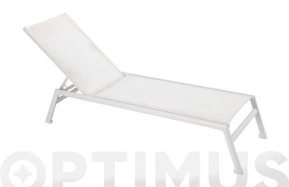 Tumbona aluminio textilene blanco blanco
