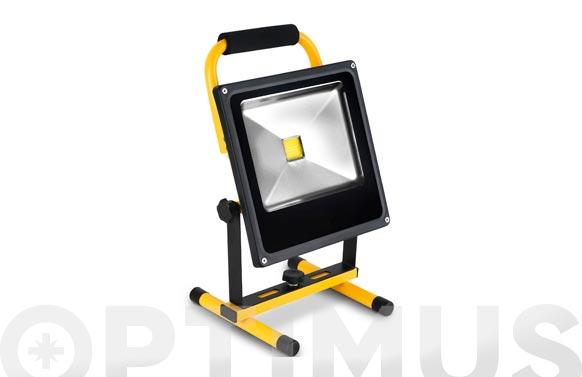 Foco proyector led 30 w recargable con soporte 2000 lm luz fria ip65