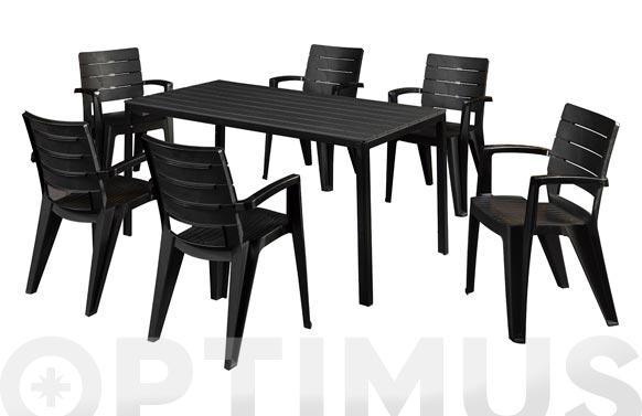 Mesa resina aluminio california antracita 155 x 80 cm