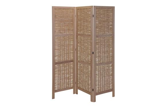 Biombo de madera 3 paneles mimbre claro