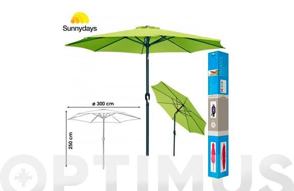 Parasol aluminio inclinable verde pistacho 300 cm tubo 48 mm con manivela
