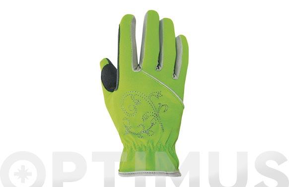 Guante piel sintetica / spandex verde talla 7