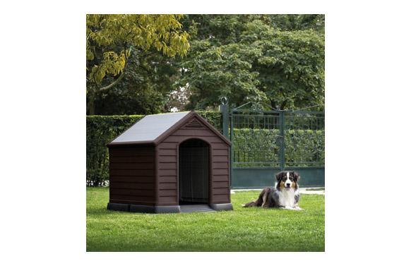 Caseta resina para perro grande 95 x 99 x 99 cm marrón