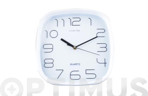 Reloj pared cuadrado 25 cm - blanco
