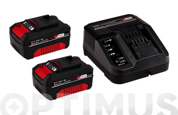 Cargador + 2 baterias power-x 18v 3.0ah