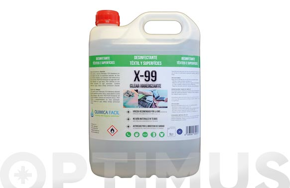 Limpiador hidroalcoholico x-99 clear higienizante 5 l