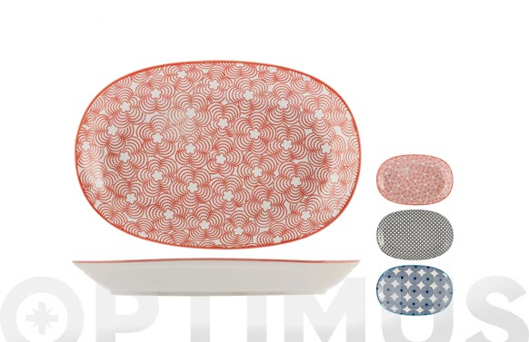 Bandeja porcelana ovalada full decoracion 16 x 23,5 cm - surtida