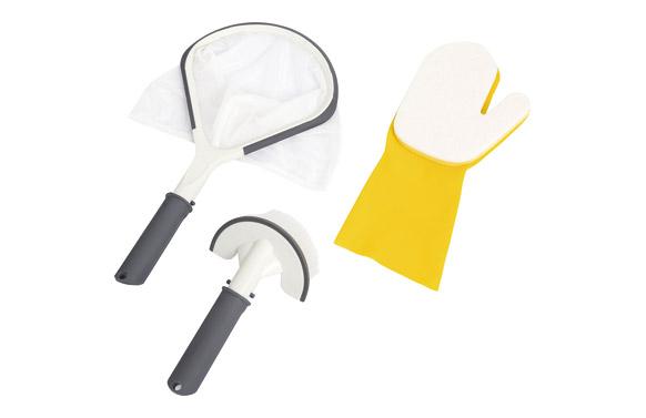 Recogehojas set cepillo + guante para linea de agu