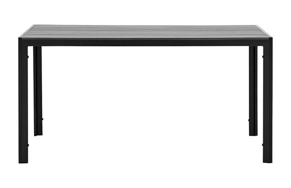 Mesa aluminio polywood negra/gris 150 x 90 cm