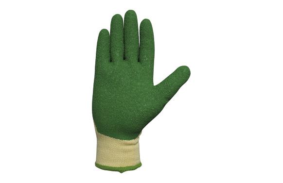 Guante recubierto latex medio dorso verde t.7
