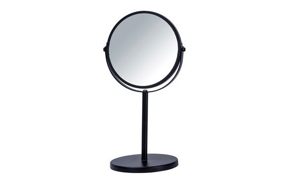 Espejo baño aumento x3 con pie negro ø17cm