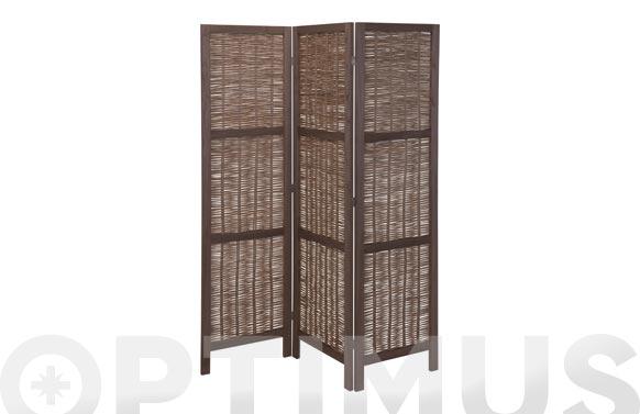 Biombo de madera 3 paneles mimbre oscuro 170 x 132 cm