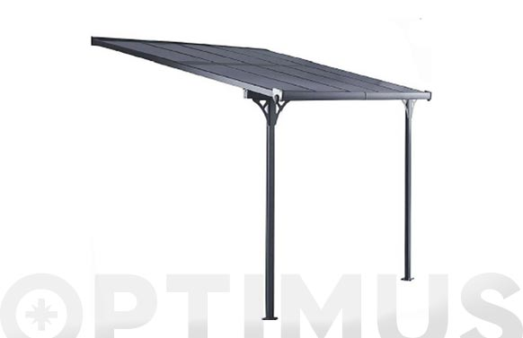 Marquesina aluminio policarbonato antracita 250 x 430 cm
