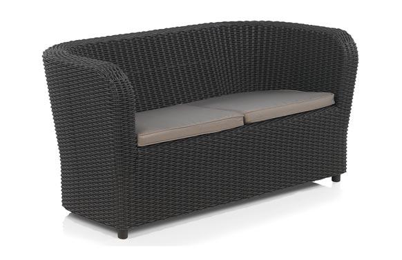 Sofa dos plazas ratan resina nova grafito