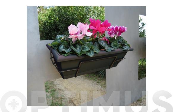 Jardinera de balcón floria antracita con soporte 62x24x20 cm