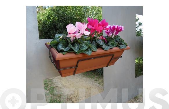 Jardinera de balcón floria teja con soporte 62x24x20 cm