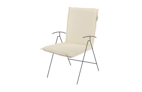 Cojin silla con respaldo bajo zippo crudo 95 x 48 x 6 cm