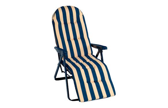 Sillon tumbona relax 5 posiciones acero rayas azul